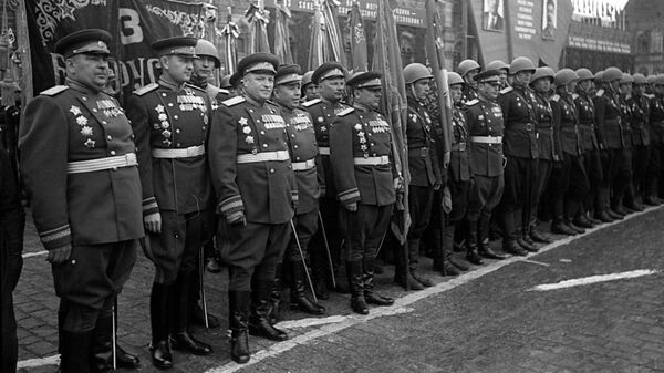 Воины 3 Белорусского фронта на Параде Победы на Красной площади 24 июня 1945 года