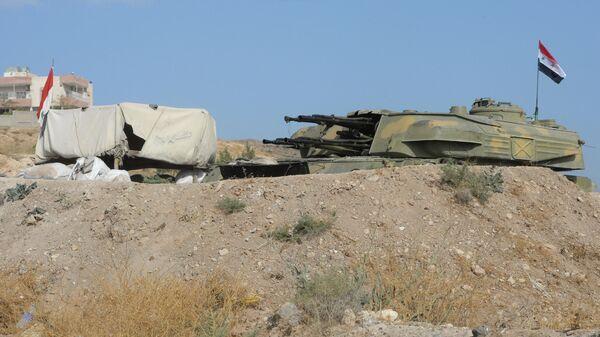 Зенитная самоходная установка Шилка на позиции 10-й дивизии 2-го корпуса Сирийской Арабской Армии у города Катана в Сирии