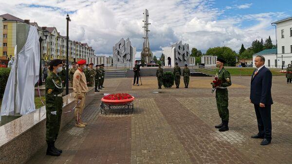 Председатель Тобольской городской думы Андрей Ходосевич на открытие аллеи Героев Советского Союза в День памяти и скорби