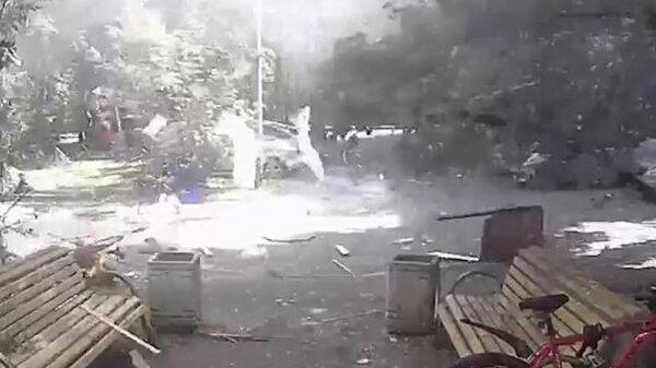 Момент взрыва в Москве на камерах наблюдения