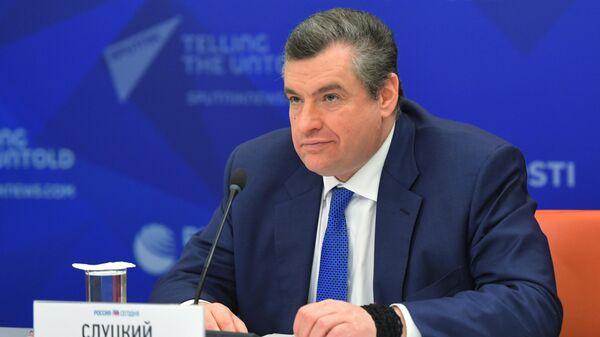 Председатель Комитета Государственной Думы РФ по международным делам Леонид Слуцкий во время онлайн-брифинга