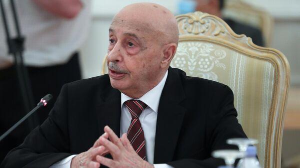 Председатель Палаты депутатов (парламента) Ливии Акила Салех во время встречи в Москве с министром иностранных дел РФ Сергеем Лавровым