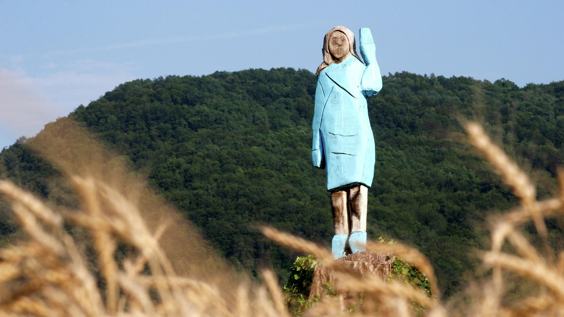 Деревянная скульптура первой леди США Мелании Трамп недалеко от ее родного города Севница - РИА Новости, 1920, 09.07.2020