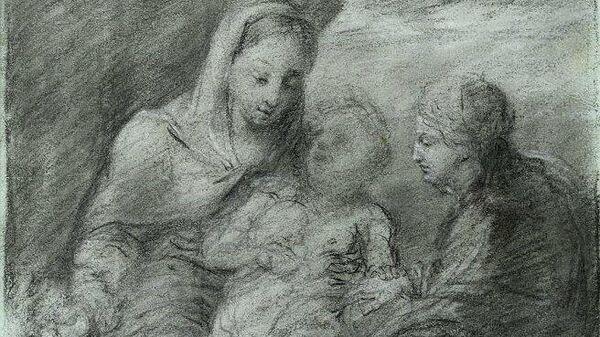 Тропинин Василий Андреевич. Рисунок Мадонна с младенцем, Иоанном Крестителем, и Святой Екатериной на фоне драпировки и пейзажа