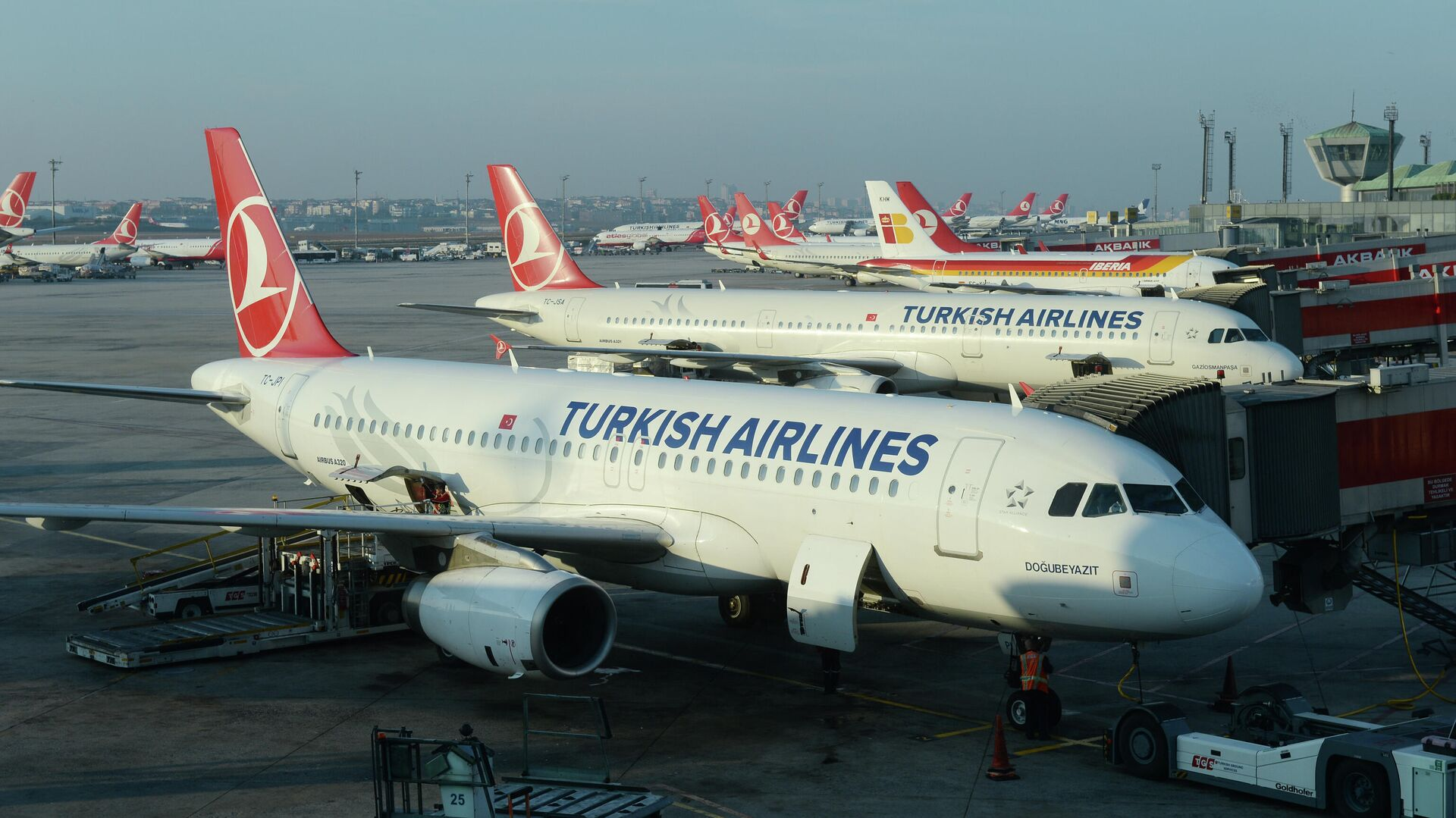 Самолеты авиакомпании Turkish Airlines в Международном аэропорту имени Ататюрка в Стамбуле - РИА Новости, 1920, 14.04.2021