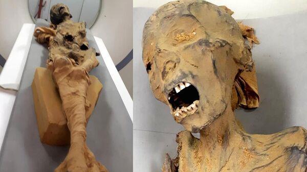 Мумия кричащей женщины из королевской усыпальницы в Дейр-эль-Бахри во время исследования, проводимого профессором Захой Хавассом