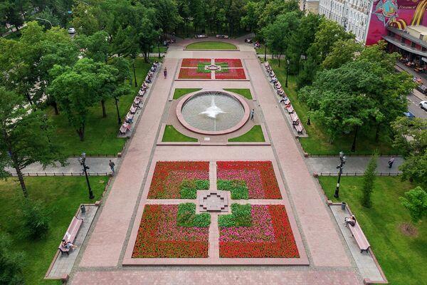 Цветник в Новопушкинском сквере