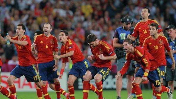 Футболисты сборной Испании в полуфинале чемпионата Европы-2012