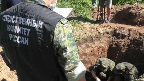 Следственные действия на месте обнаружения массового захоронения в Псковской области
