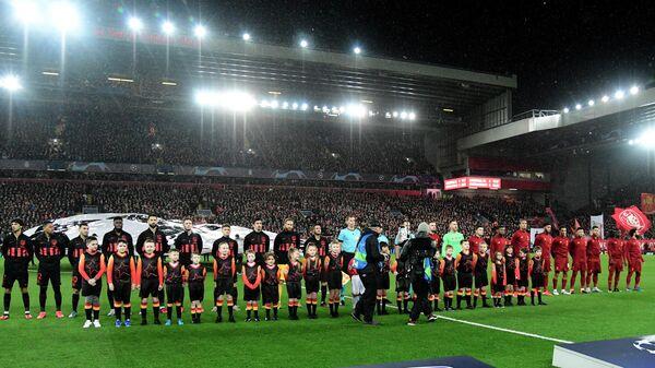 Футболисты Атлетико и Ливерпуля перед матчам Лиги Чемпионов