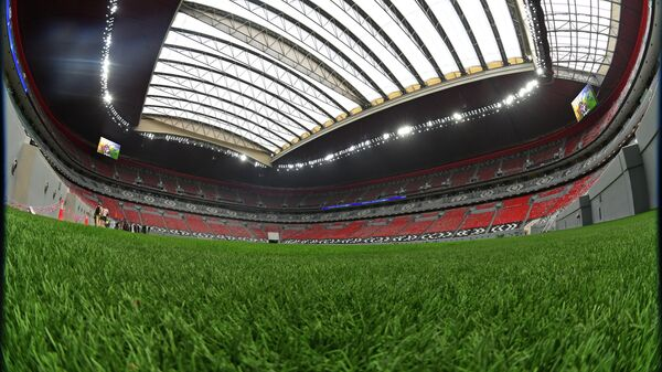 This picture taken with a fish-eye lens on December 17, 2019 shows a view from the pitch at Qatar's new al-Bayt Stadium in the capital Doha, which will host matches of the FIFA football World Cup 2022. (Photo by GIUSEPPE CACACE / AFP)