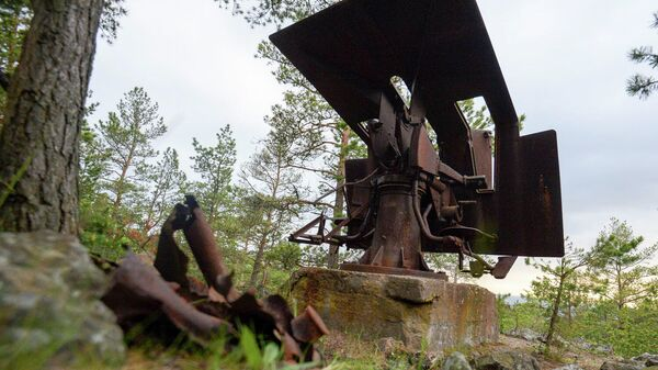 Зенитное орудие времен Великой Отечественной войны на острове Большой Тютерс в Финском заливе