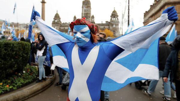 Демонстрация за независимость Шотландии в Глазго