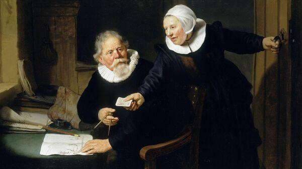 Картина Судостроитель и его жена Харменса ван Рейна Рембрандта