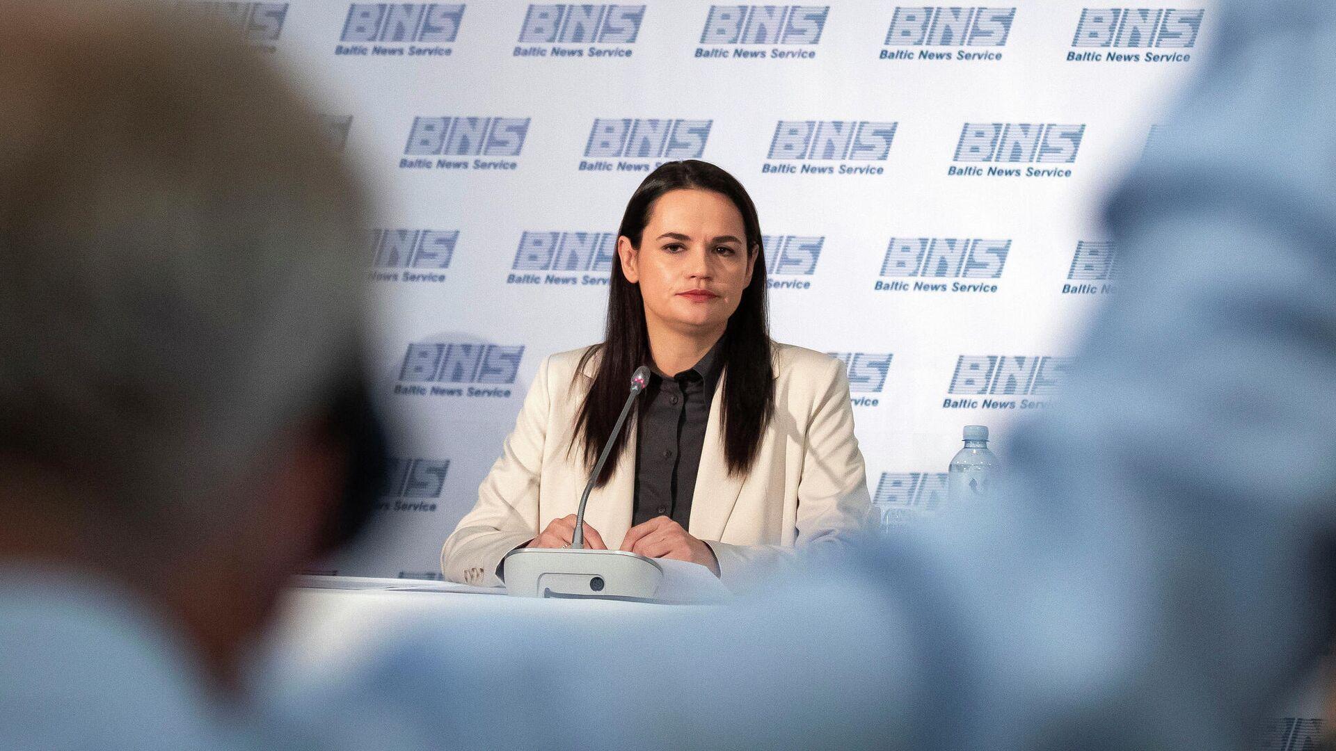 Светлана Тихановская во время пресс-конференции в Вильнюсе, Литва - РИА Новости, 1920, 07.12.2020