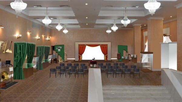 В пространстве выставки воссоздан зрительный зал со сценой как символ многолетней дружбы и богатой общей истории хакасского и русского народов
