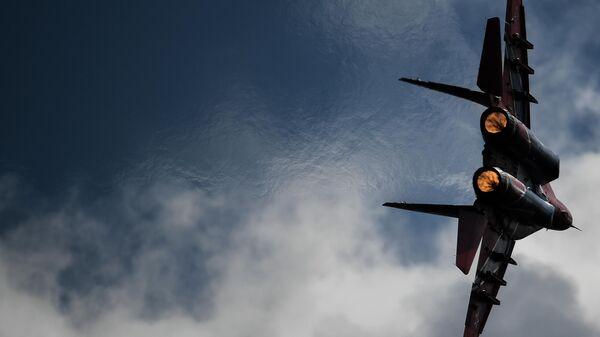 Истребитель МиГ-29 пилотажной группы Стрижи выполняет демонстрационный полет в рамках Международного форума Армия-2020 на аэродроме Кубинка в Подмосковье