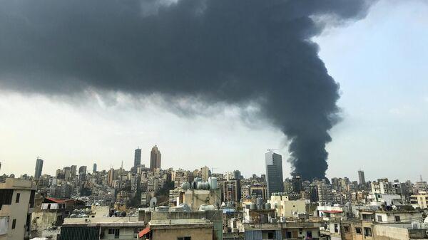 Дым от пожара в порту Бейрута
