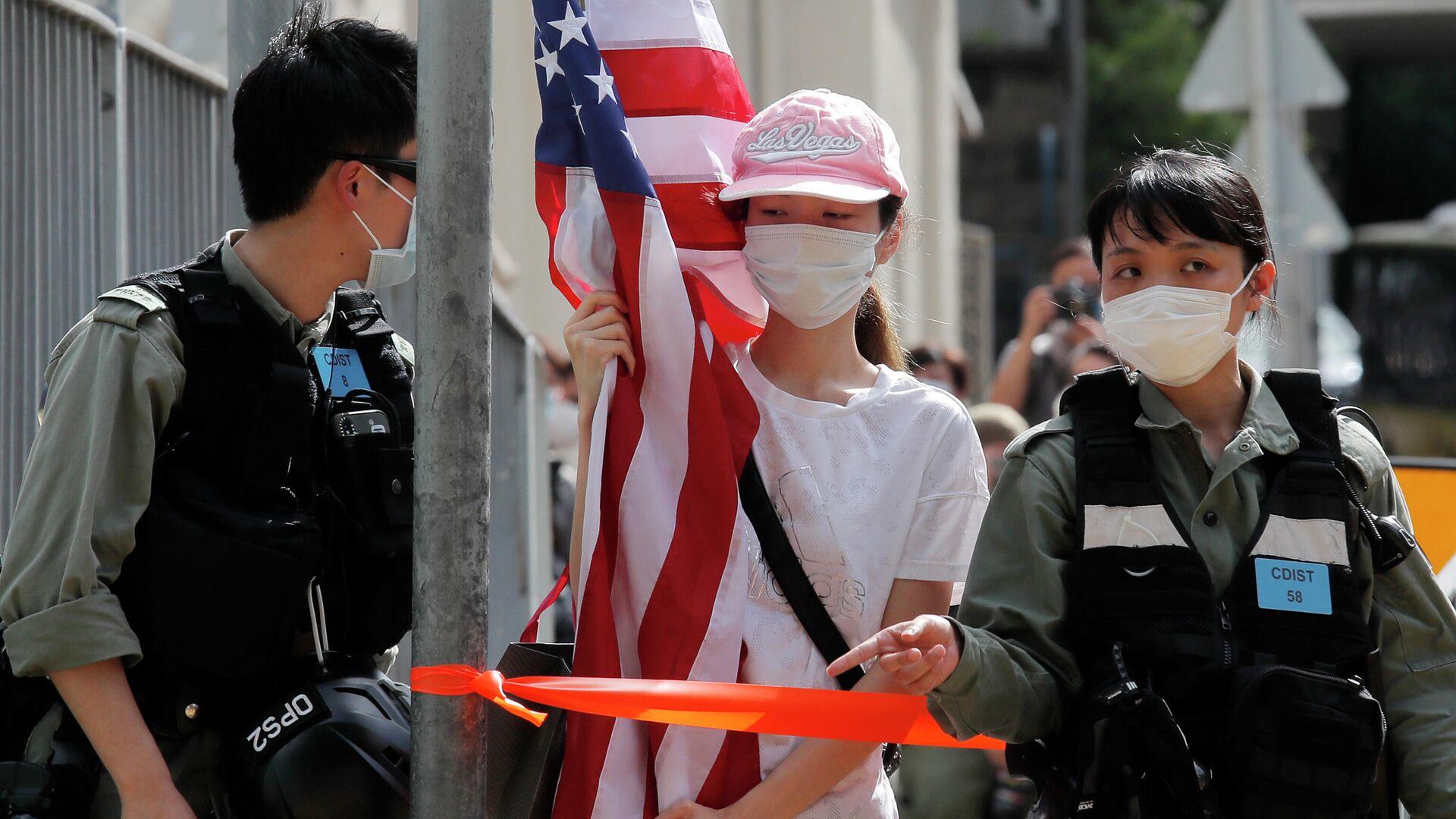 Протесты около посольства США в Гонконге  - РИА Новости, 1920, 11.09.2020