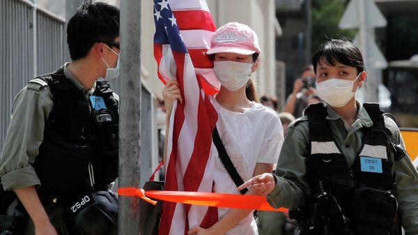Протесты около посольства США в Гонконге