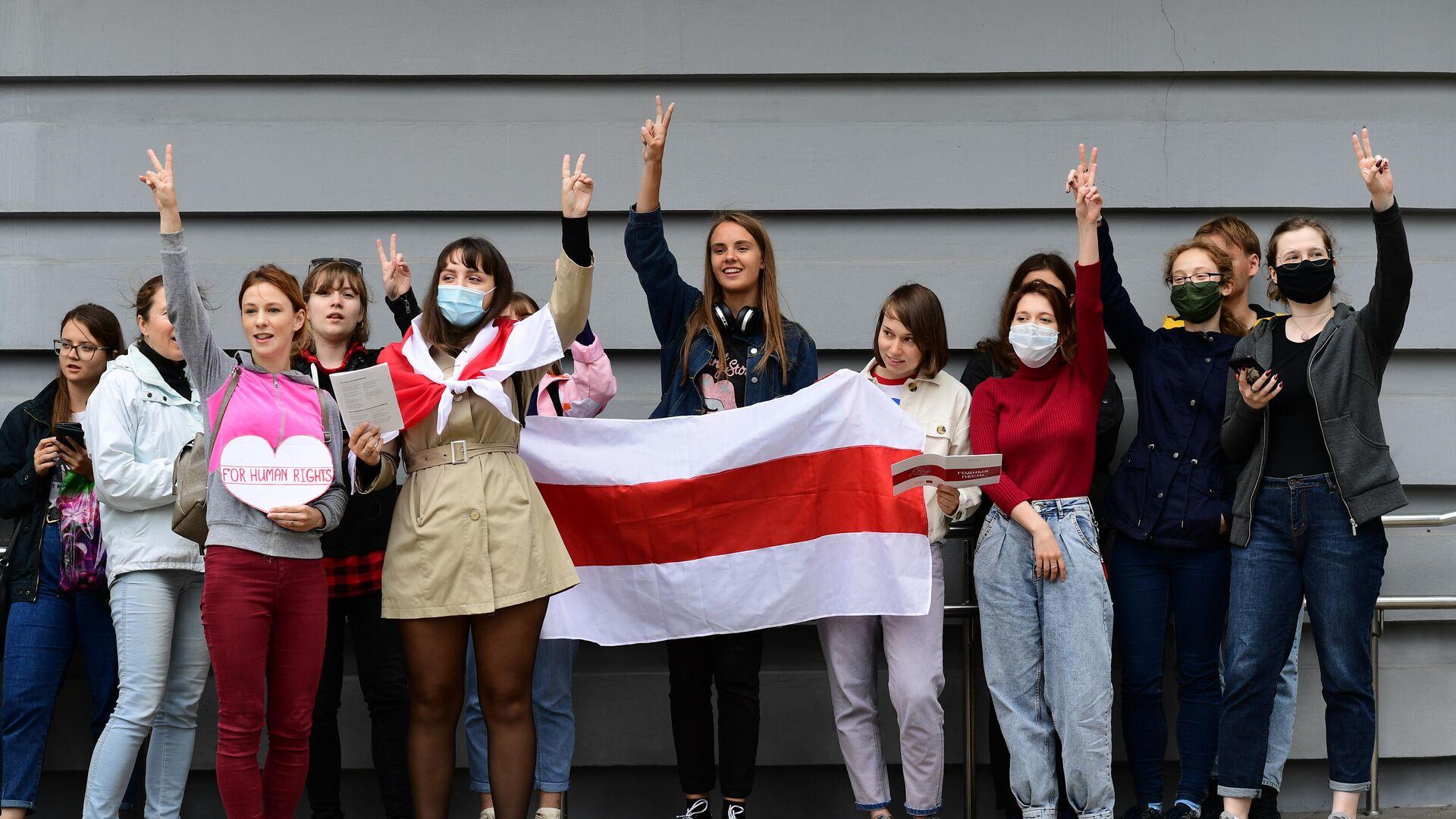 Студенты Минского лингвистического университета принимают участие в акции протеста - РИА Новости, 1920 г., 13 ноября 2020 г.