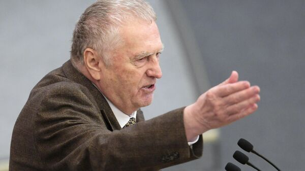 Руководитель фракции ЛДПР Владимир Жириновский на пленарном заседании Государственной Думы РФ