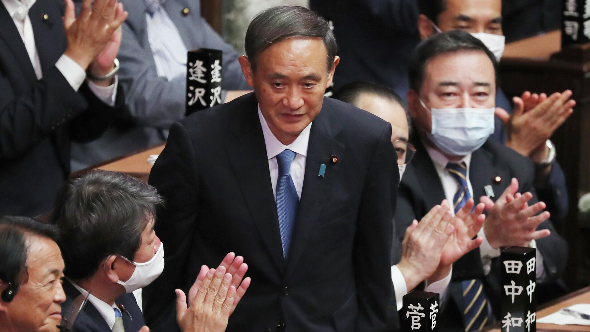 Есихидэ Суга в нижней палате парламента после избрания новым премьер-министром Японии - РИА Новости, 1920, 26.10.2020