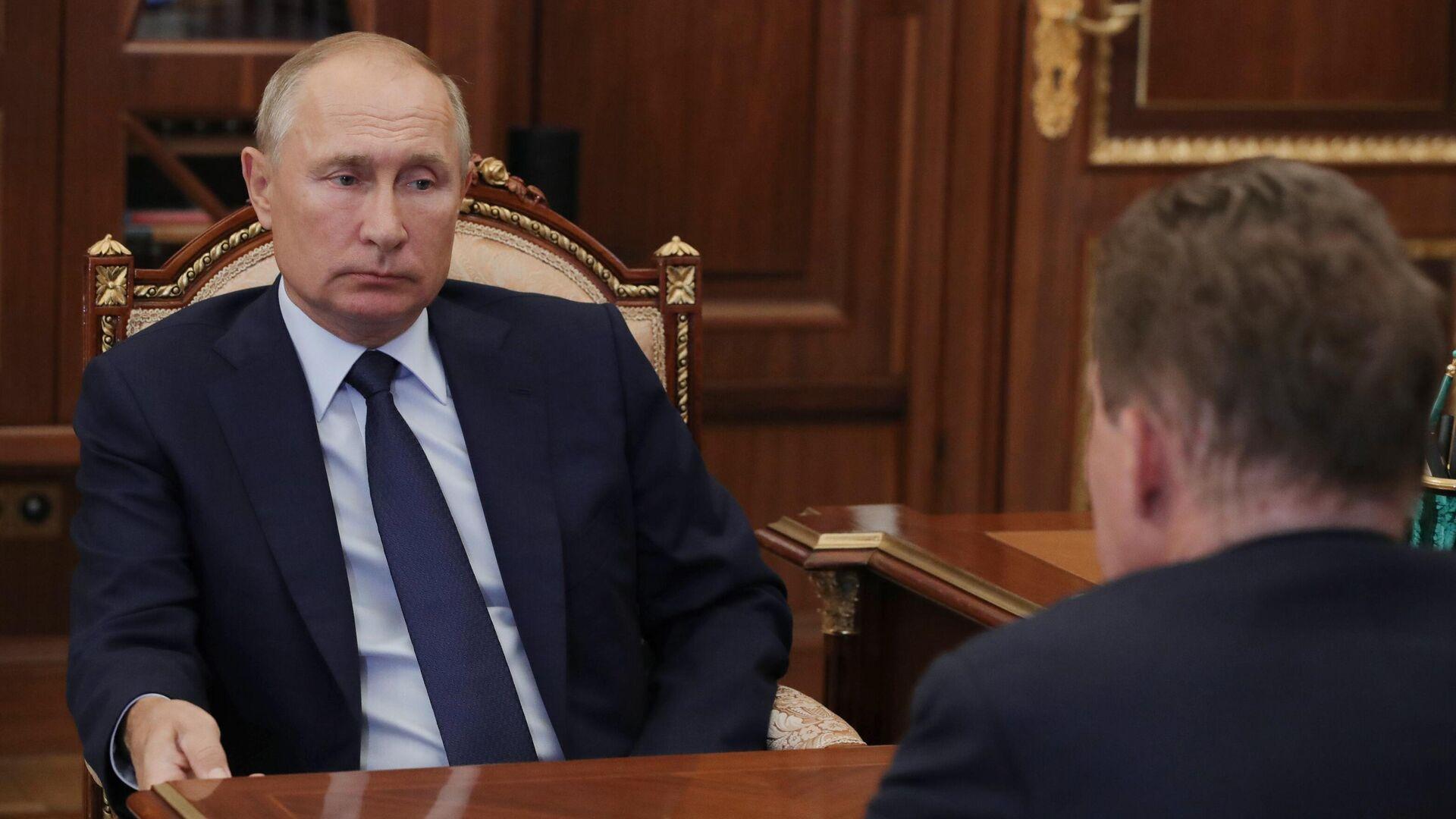Президент РФ Владимир Путин во время встречи с председателем правления ПАО Газпром Алексеем Миллером - РИА Новости, 1920, 16.09.2020