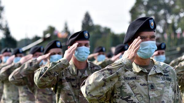 Военнослужащие США на церемонии открытия совместных военных учений Украины и стран НАТО Rapid Trident-2020