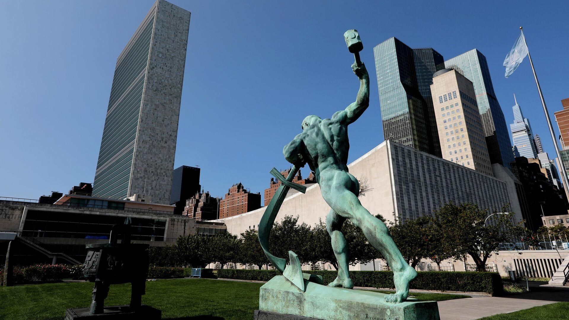 Штаб-квартира ООН в Нью-Йорке во время 75-й сессии Генеральной Ассамблеи ООН - РИА Новости, 1920, 16.10.2020