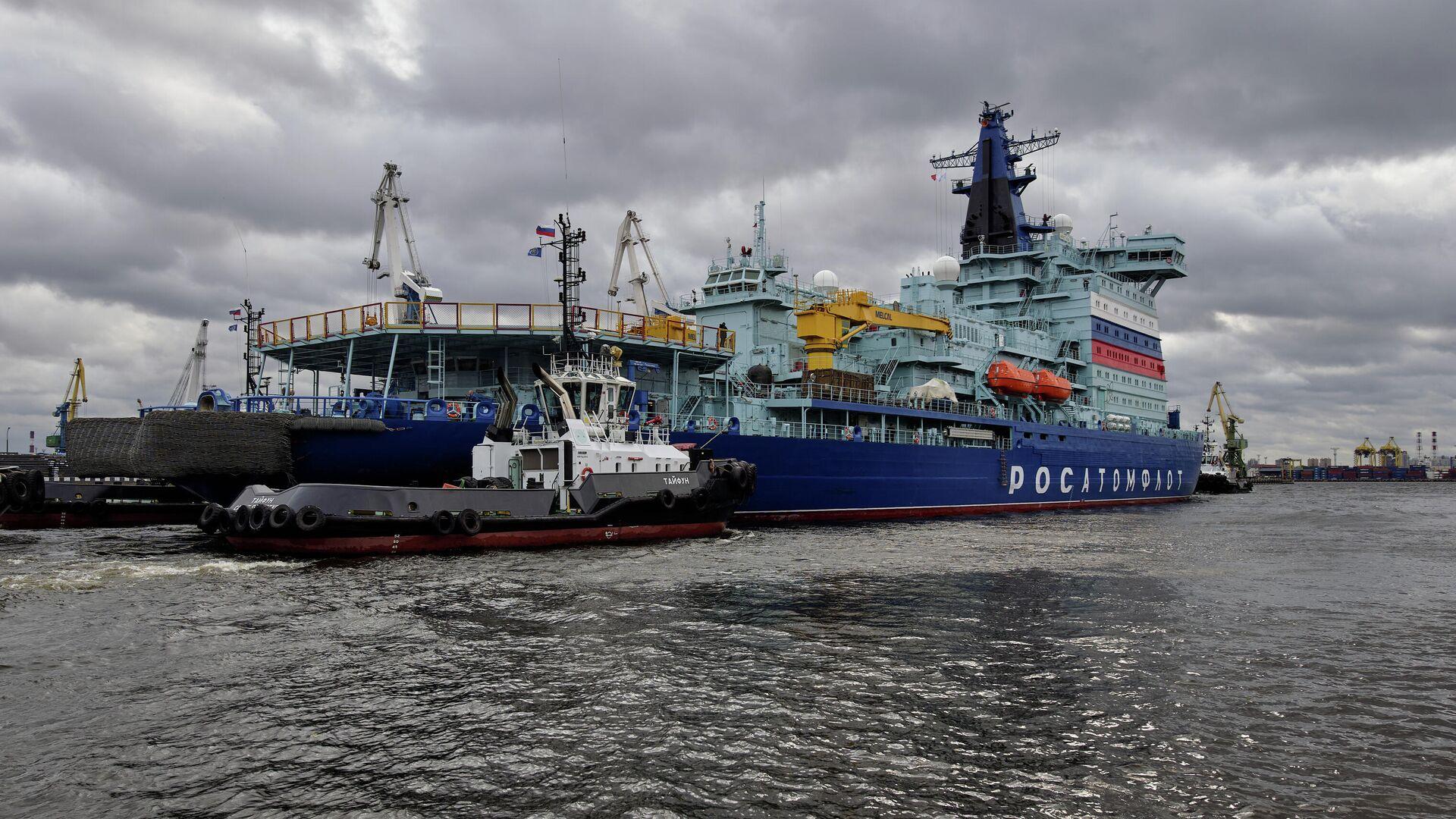 Ледокол Арктика отправляется на ледовые испытания из порта Санкт-Петербурга - РИА Новости, 1920, 24.09.2020