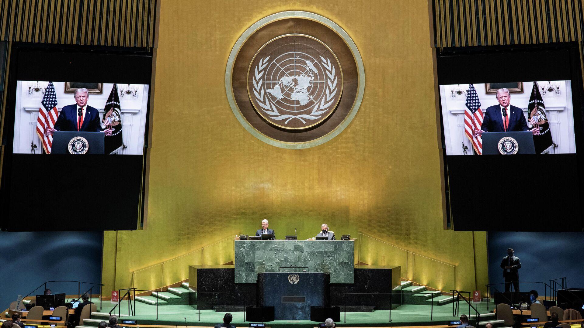 Трансляция обращения президента США Дональда Трампа к Генассамблее ООН - РИА Новости, 1920, 22.09.2020