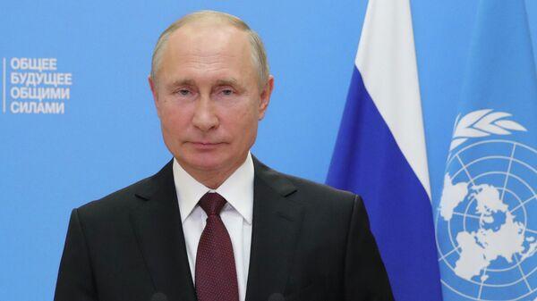 Президент РФ Владимир Путин во время выступления с видеообращением на 75-й сессии Генеральной ассамблеи Организации Объединенных Наций