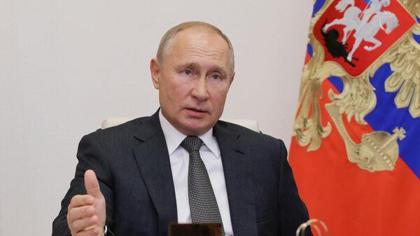 Президент РФ Владимир Путин в режиме видеоконференции проводит встречу с главами регионов РФ, избранными в ходе региональных выборов