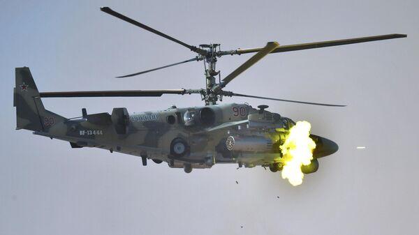 Ударный вертолет Ка-52 Аллигатор на командно-штабных учениях Кавказ-2020