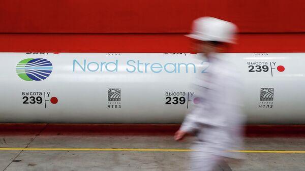 Логотип проекта Северный поток - 2 на одной из труб