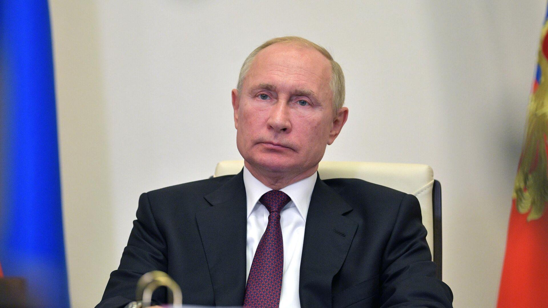 Президент РФ Владимир Путин во время видеоконференции - РИА Новости, 1920, 27.10.2020