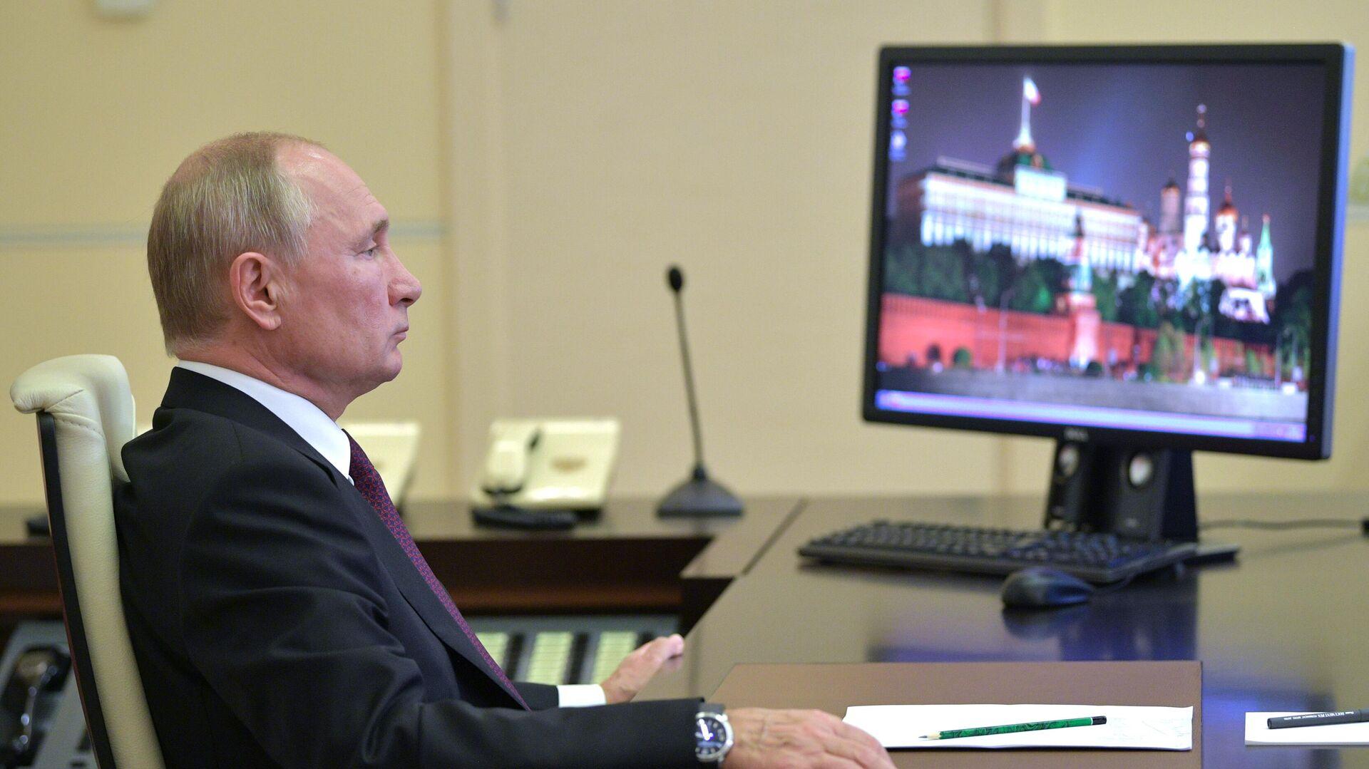 Президент РФ Владимир Путин во время видеоконференции - РИА Новости, 1920, 22.10.2020