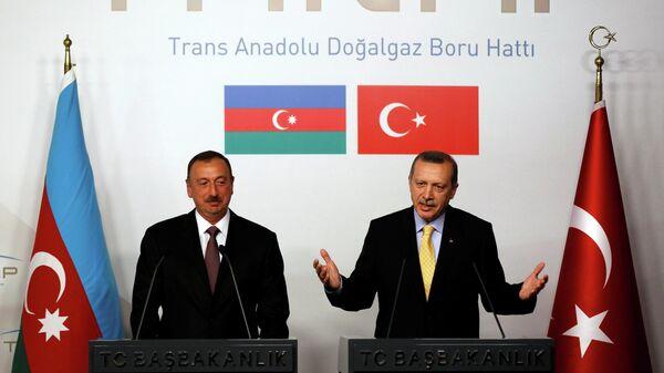 Президент Турции Реджеп Тайип Эрдоган и глава Азербайджанской Республики Ильхам Гейдар оглы Алиев