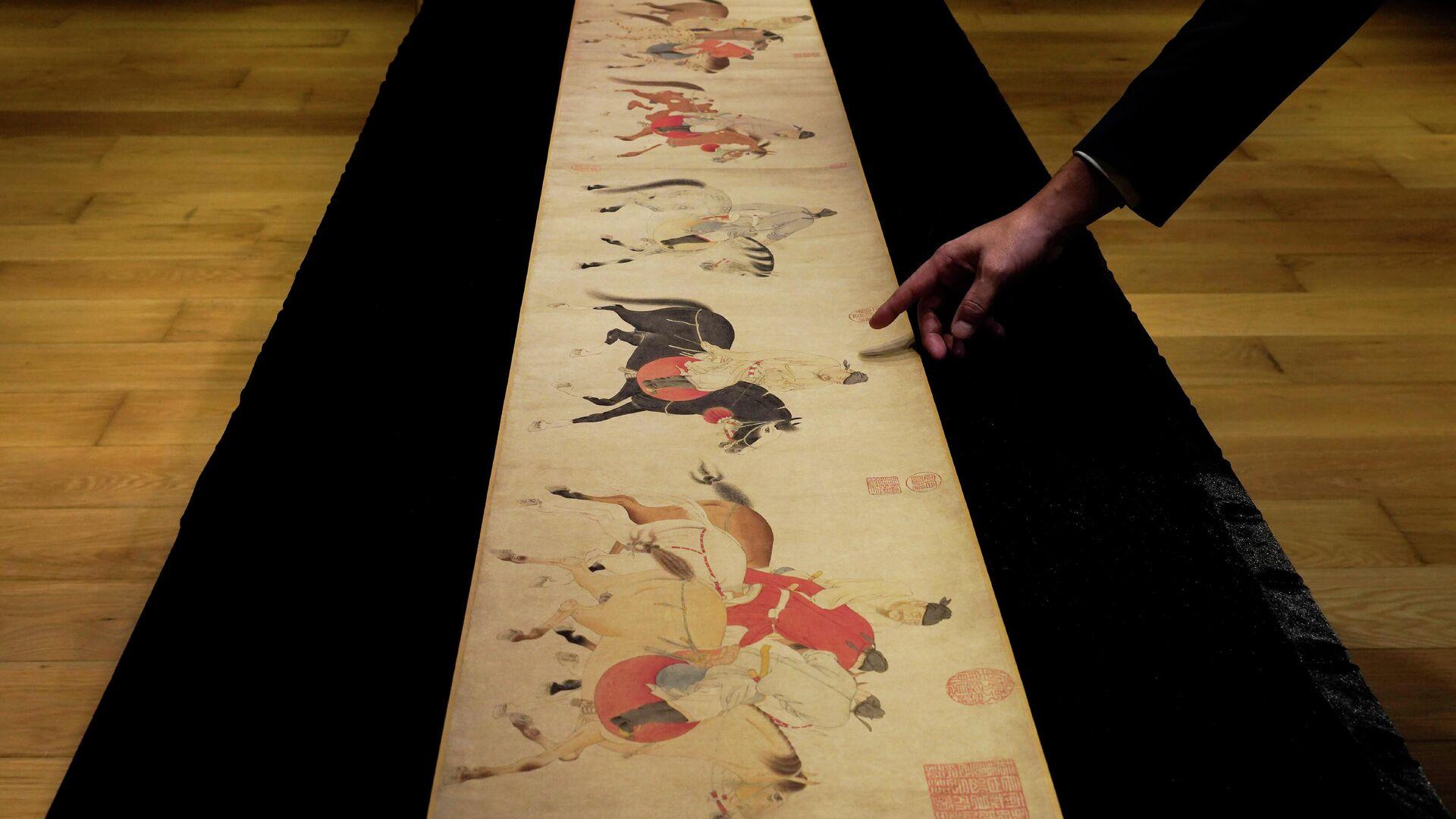 Китайский свиток Пять пьяных принцев возвращаются домой верхом на лошадях - РИА Новости, 1920, 09.10.2020