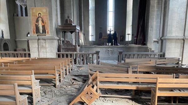 Собор Святого Христа Всеспасителя, поврежденный в результате обстрела города Шуша в Нагорном Карабахе