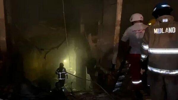 Кадры с места взрыва в жилом квартале Бейрута