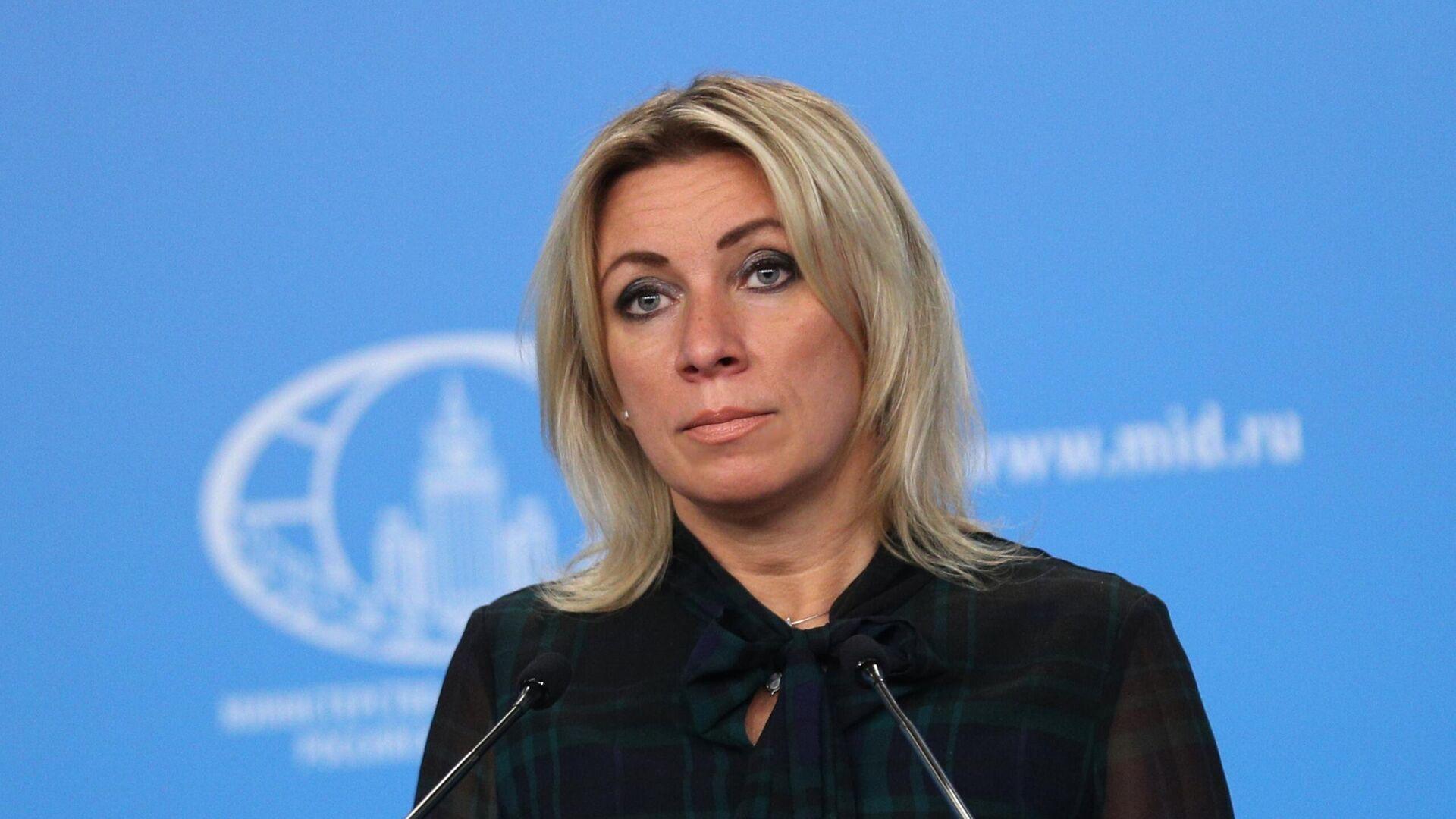 Официальный представитель Министерства иностранных дел России Мария Захарова во время брифинга - РИА Новости, 1920, 08.02.2021