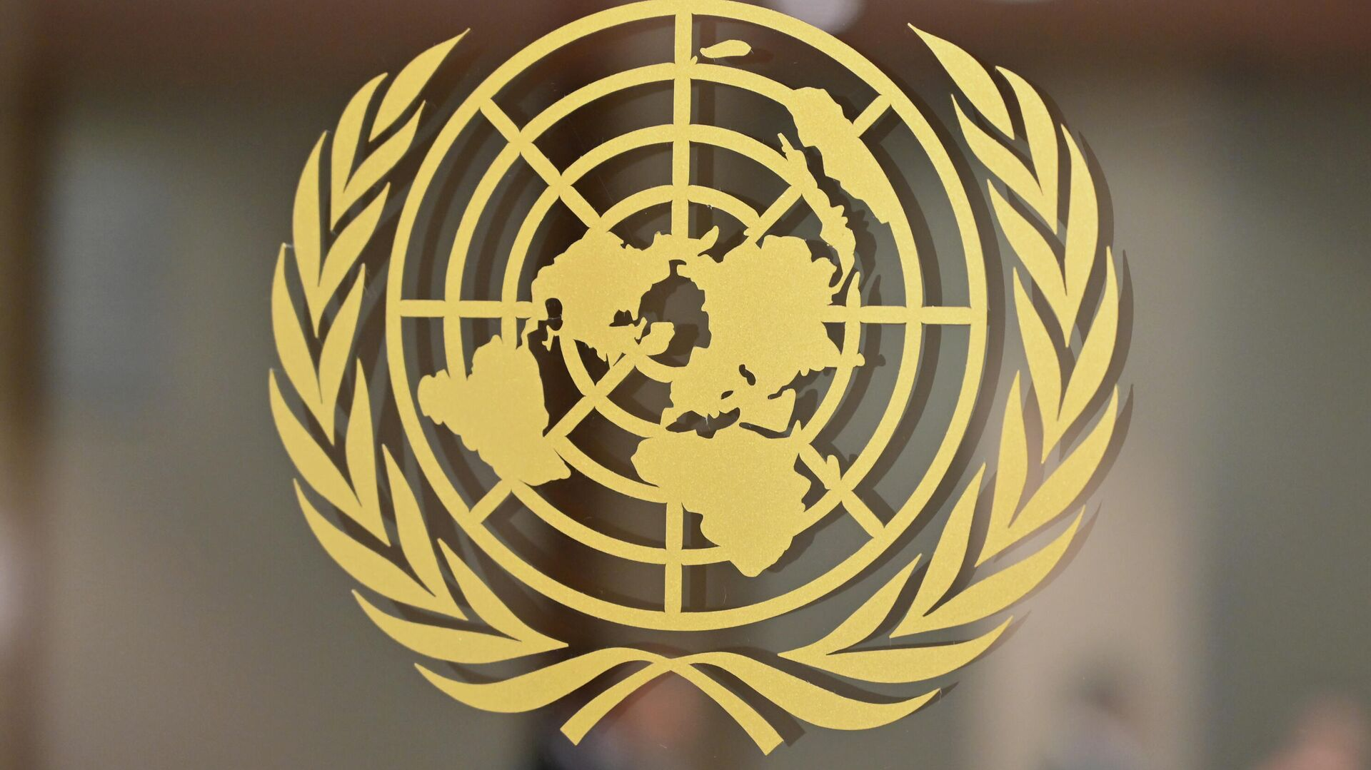 Логотип Организации Объединенных Наций в штаб-квартире Организации Объединенных Наций в Нью-Йорке - РИА Новости, 1920, 24.10.2020