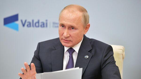 Президент РФ Владимир Путин принимает участие в заседании дискуссионного клуба Валдай в режиме видеосвязи