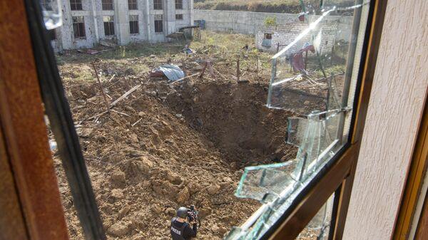 Последствия обстрела в городе Шуша