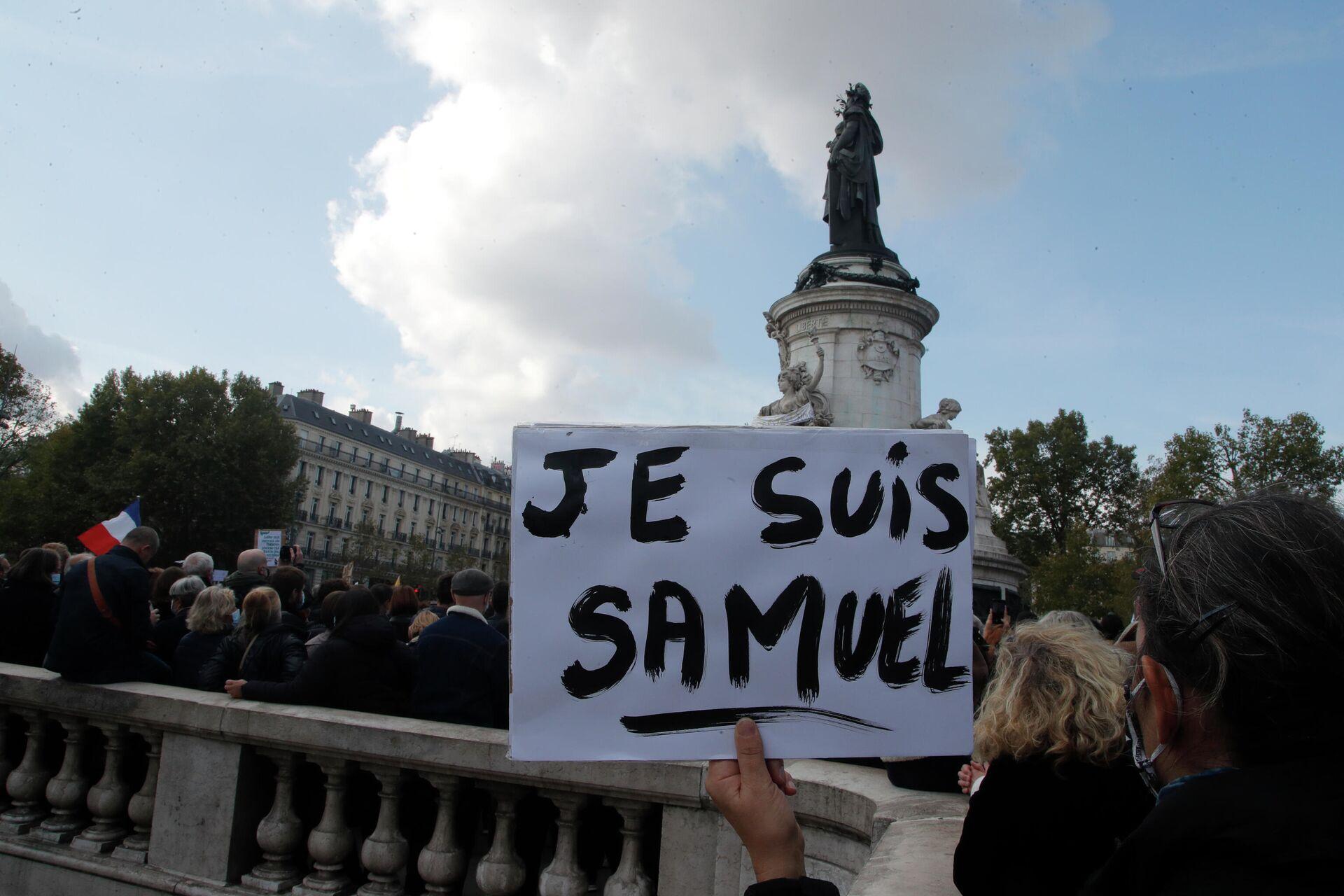 Демонстрация после смерти учителя во Франции. 18 октября 2020 года - РИА Новости, 1920, 29.10.2020