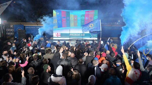 Правящая партия Грузинская мечта отмечает завершение парламентских выборов 2020