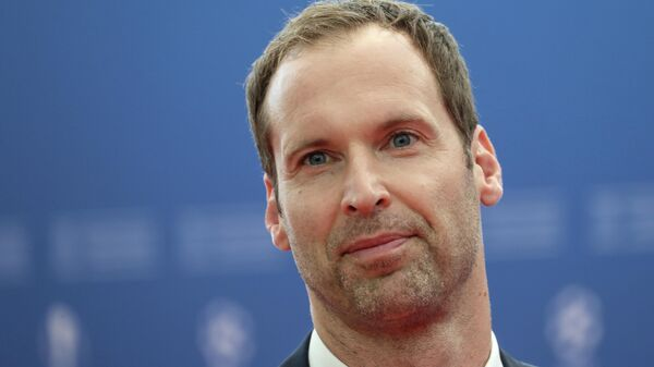 Technical and Performance Advisor of Chelsea and former Czech goalkeeper Petr Cech poses as he arrives prior to the UEFA Champions League football group stage draw ceremony in Monaco on August 29, 2019. (Photo by Valery HACHE / AFP)