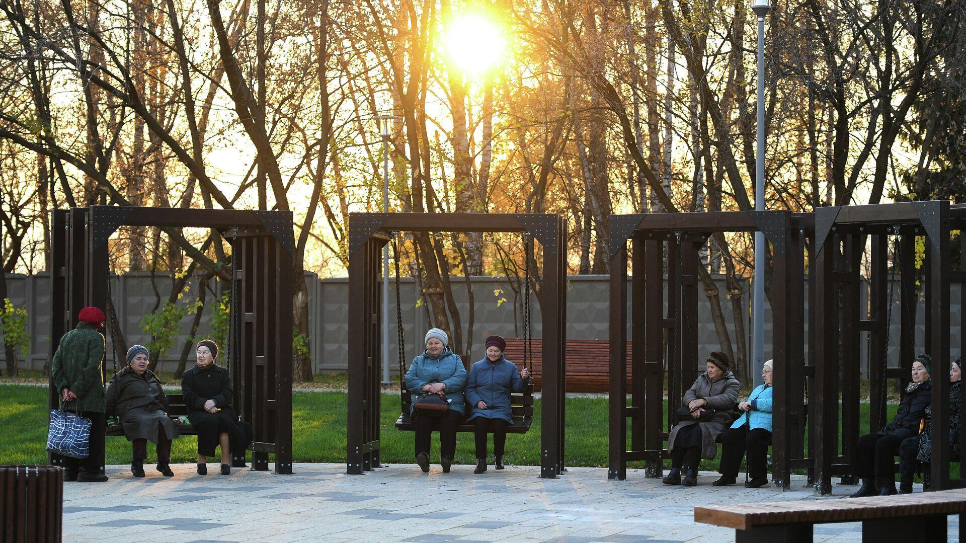 Пенсионеры сидят на качелях в Капотне - РИА Новости, 1920, 05.11.2020